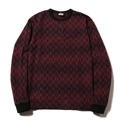 L/S JACQUARD HENLEY NECK CUTSEW [17SS031]★30%OFF★