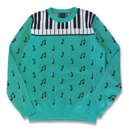NOTE PATTERN COTTON KNIT SWEATER