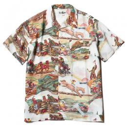 ALLOVER WESTERN PATTERN S/S RAYON SHIRT