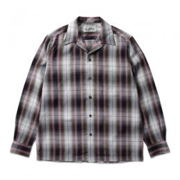 OMBRAY CHECK OPEN COLLAR SHIRT (TYPE-5)
