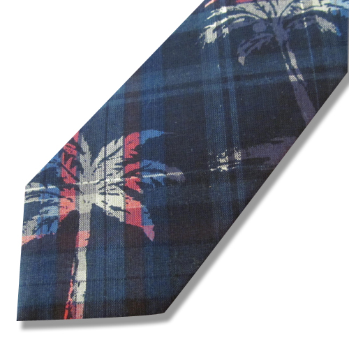 PALM TREE PATTERN INDIAN MADRAS NECKTIE ★40%OFF★