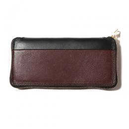 TWO TONE LEATHER ROUND ZIP LONG WALLET