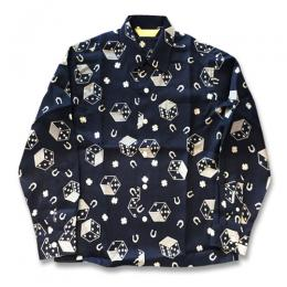DICE PATTERN OPEN COLLAR SHIRT