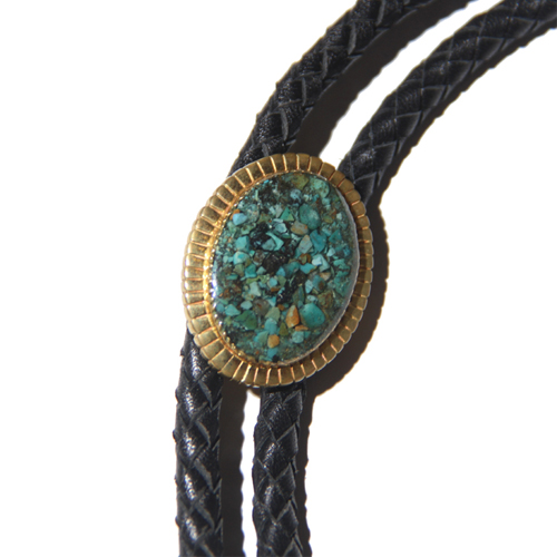 TURQUOISE BOLO TIE <BRASS>