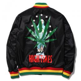 × HIGHTIMES  RASTA STRIPED RIB VIRSITY JACKET