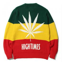 × HIGHTIMES RASTA STRIPED CREW NECK SWEATER