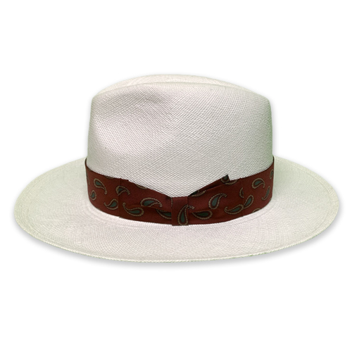 HAT-04-JOHNNY-WHITE-BRISA(G4) <PAISLEY RIBBON>