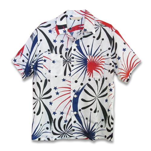 S/S HANABI PATTERN SATIN OPEN COLLAR SHIRT