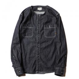 NO COLLAR L/S DENIM SHIRT