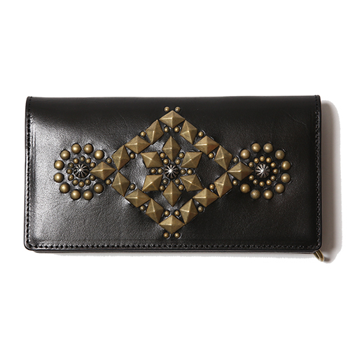 LEATHER GEOMETRIC STUDS LONG WALLET [16ST123]