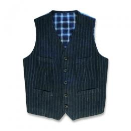 KAIHARA STRIPE DENIM 5B VEST