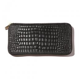 EMBASSING CROCODILE LEATHER ROUND ZIP LONG WALLET