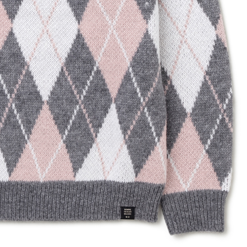 "C-NECK JACQUARD KNIT SWEATER ""WRIGHT"""