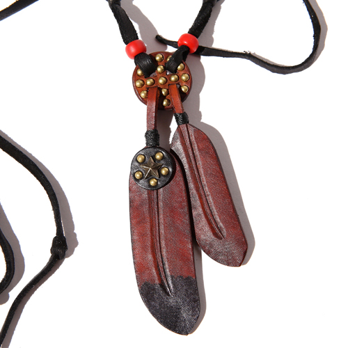 LEATHER STRAP FEATHER NECKLACE  [16ST114]