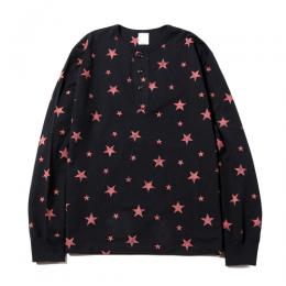 L/S ALLOVER PRINT HENRY NECK T-SHIRT ★30% OFF★