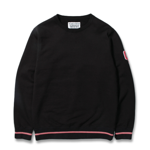WASHED HEAVY WEIGHT LINE RIB CREW NECK SWEAT SHIRT
