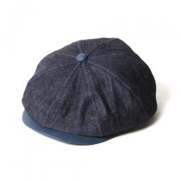 INDIGO LEATHER/DENIM CASQUETTE