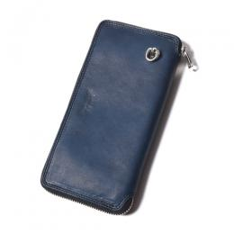 INDIGO LEATHER ROUND ZIP LONG WALLET